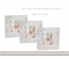 Set 3 Mini Frames Mirror Glitter Petal Beaded